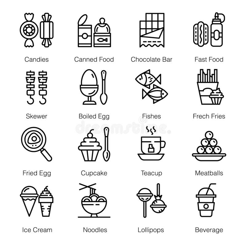 Street Food Icons Pack royalty free illustration