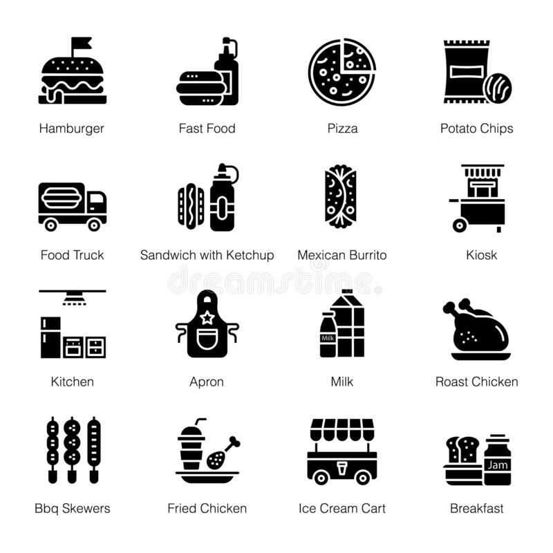 Fast Food Icons Pack stock illustration