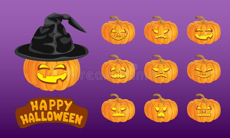 Happy Halloween set. Collection of pumpkins with different scary and funny faces vector illustration