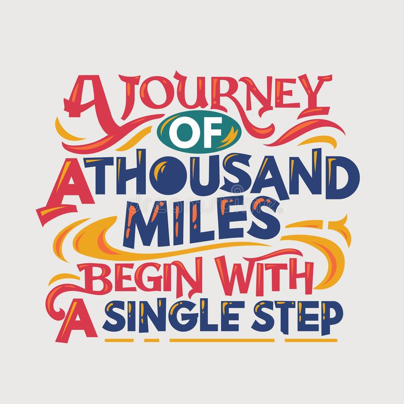 Inspirational and motivation quote. A journey of thousand miles begin with a single step stock photos