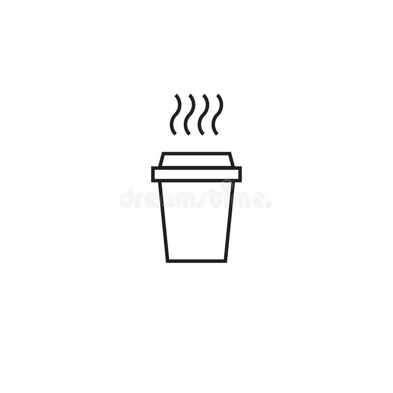 Take-out coffee with cap, cup holder and steam. disposable cardboard cup of coffee stock illustration