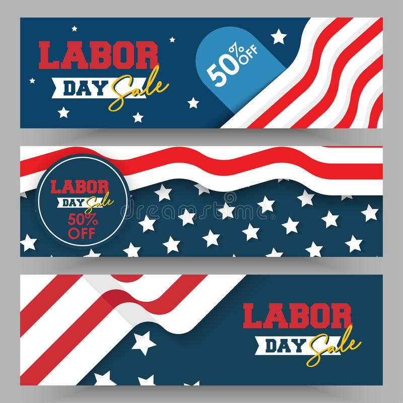 Set of labor day sale banner and flyer illustration template vector. American labor day sale vector. 50% off banner illustration stock illustration