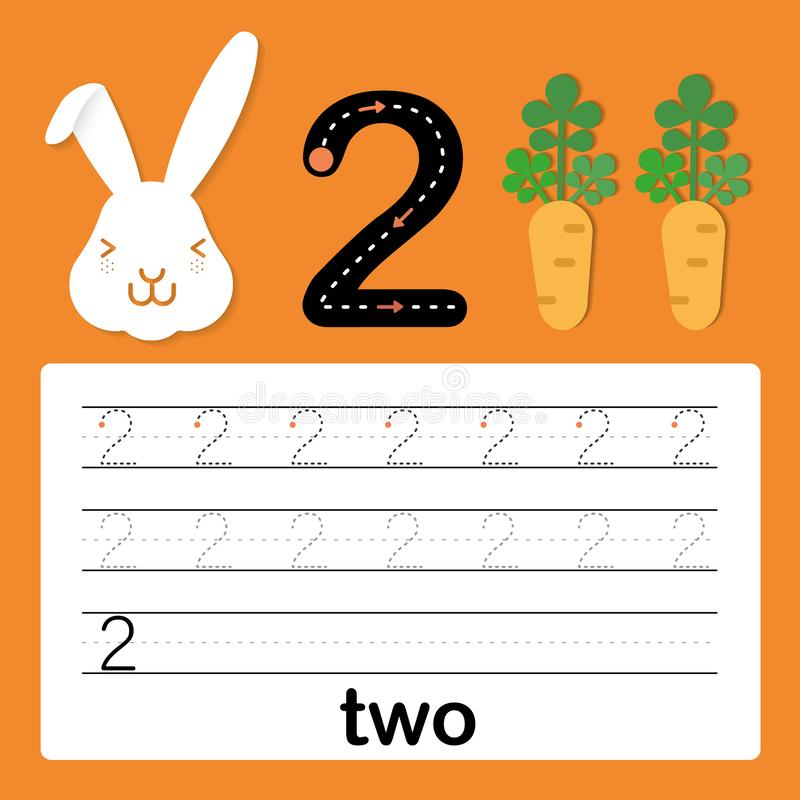 Number two, card for kids learning to count and to write, worksheet for kids to practice writing skill, Vector illustration. Printable worksheet for preschool royalty free illustration