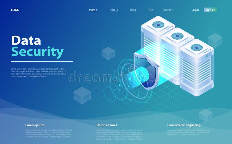 Big data flow processing data protection concept. Cloud database, web hosting server room. Isometric database protection concept. Digital information royalty free illustration