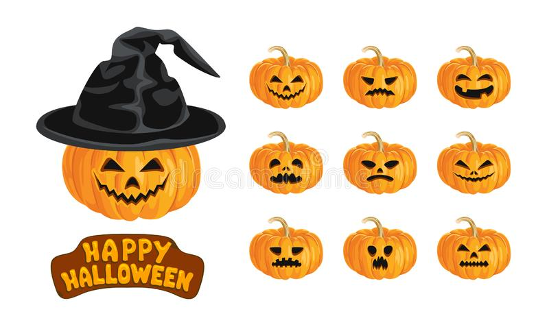 Pumpkin Jack Set. Happy Halloween lettering, evil smiling pumpkin in hat and pumpkins with different scary, funny faces stock illustration