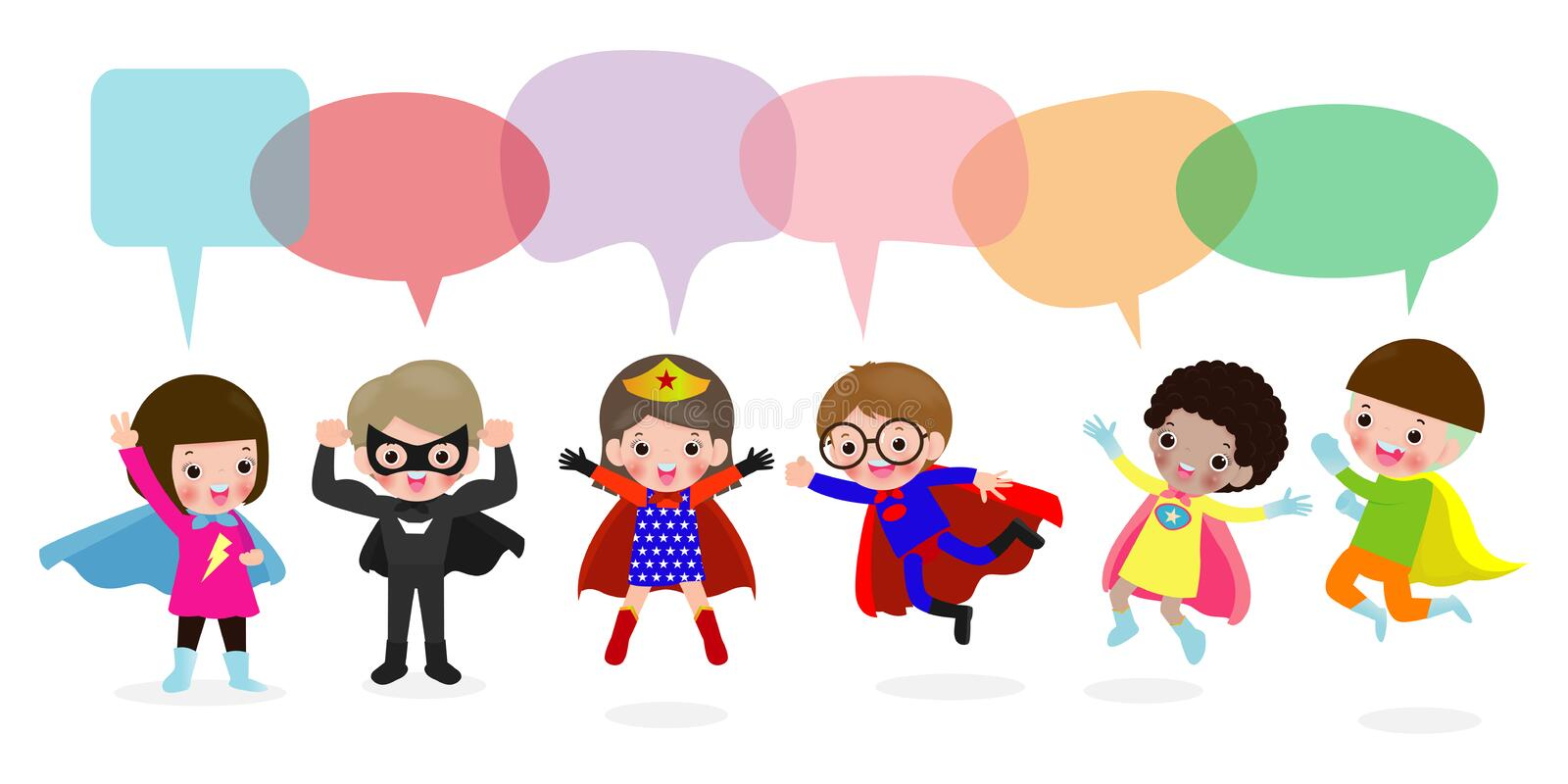 Cute superhero kids with speech bubbles, Set of super hero child with speech bubbles isolated on white background, Vector. Illustration stock illustration