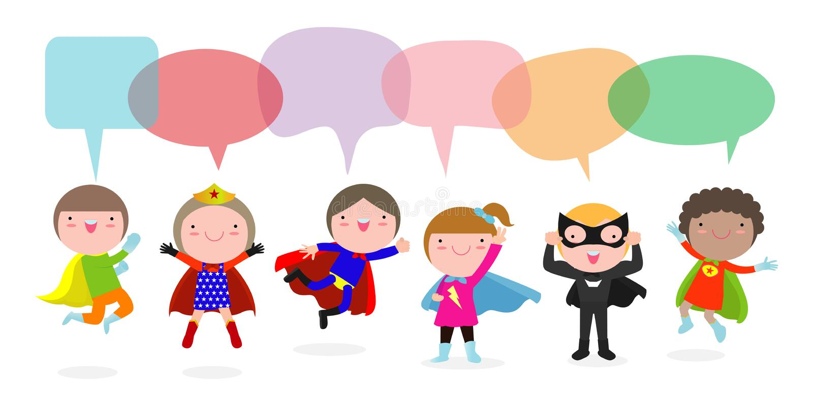 Cute superhero kids with speech bubbles, Set of super hero child with speech bubbles isolated on white background, Vector. Illustration vector illustration