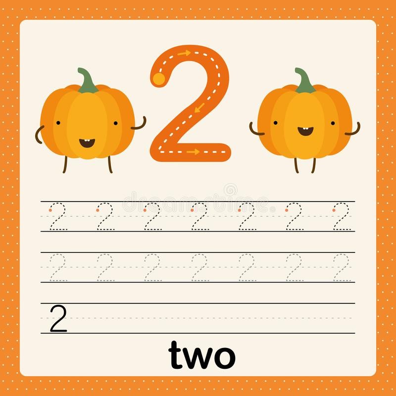 Number 2, card for kids learning to count and to write, worksheet for kids to practice writing skill, Vector illustration. Printable worksheet for preschool royalty free illustration
