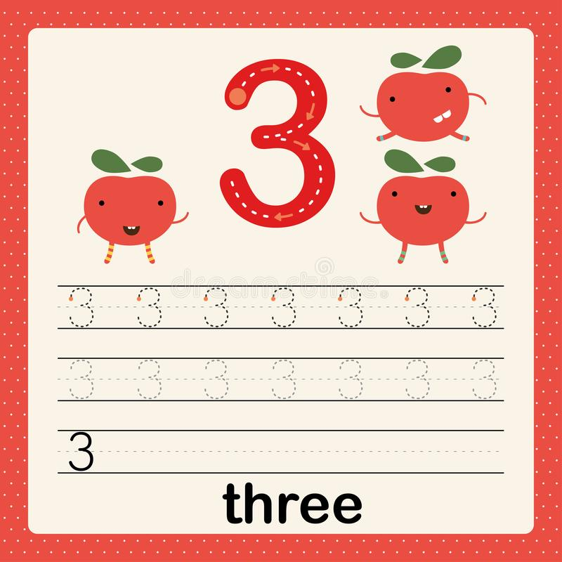Number 3, card for kids learning to count and to write, worksheet for kids to practice writing skill, Vector illustration. Printable worksheet for preschool royalty free illustration