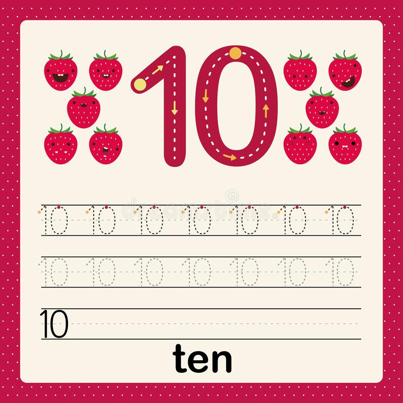 Number ten, card for kids learning to count and to write, worksheet for kids to practice writing skill, Vector illustration. Printable worksheet for preschool stock illustration