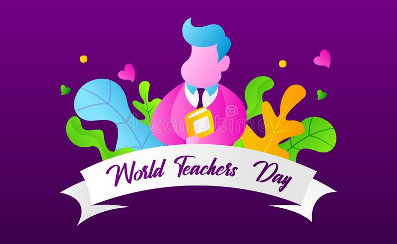 World Teachers` Day Vector Ilustration In Landing Page Concept With Gradient Color vector illustration