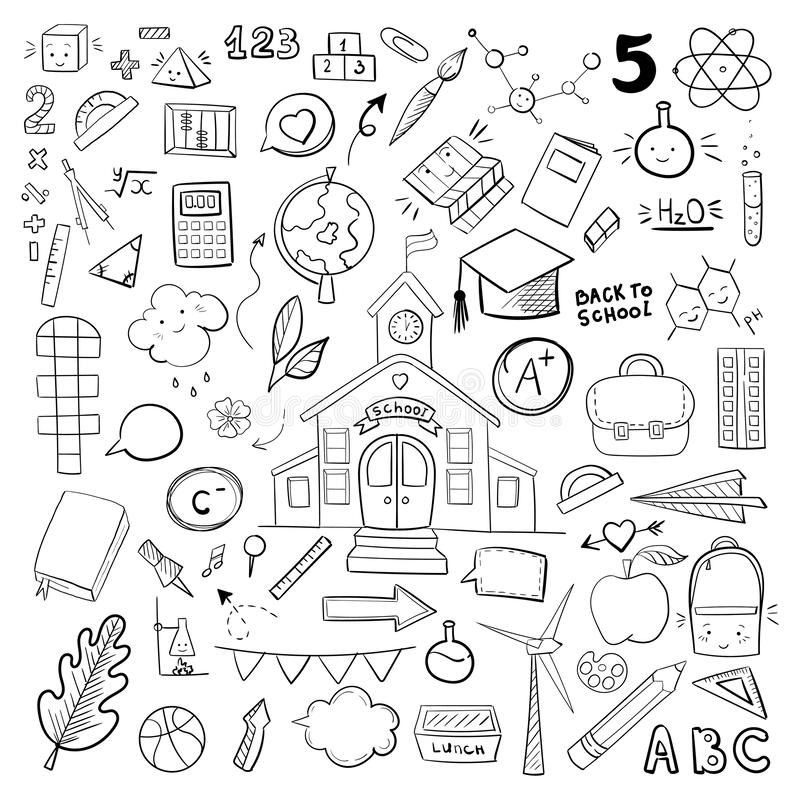 Vector school supplies, doodle hand drawn  graphic school illustrations. For children and school design royalty free illustration