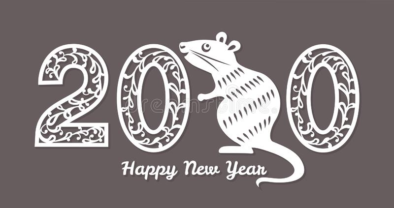 Happy New Year 2020. Rat zodiac sign on the Chinese calendar. royalty free illustration