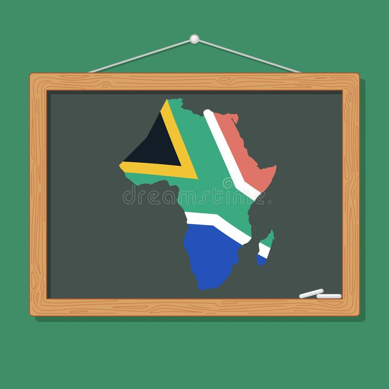 South African Flag on Chalkboard. A vector illustration of South African Flag on Chalkboard For Children royalty free illustration