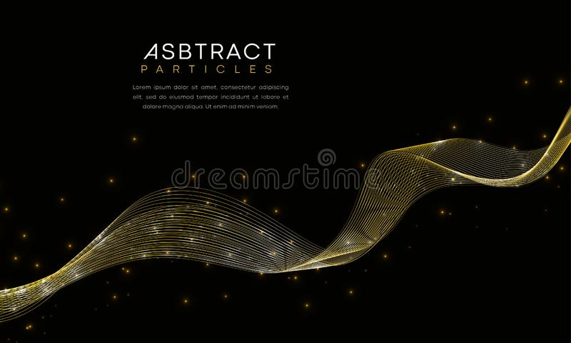 Abstract luxury waves golden Lines with futuristic particles royalty free illustration