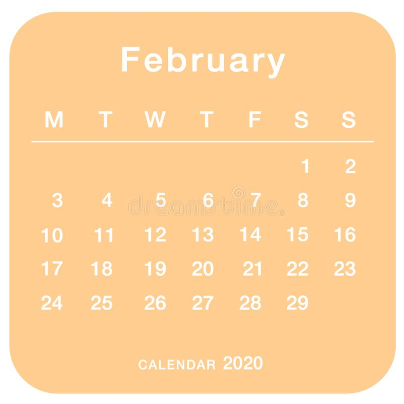 February 2020 planning calendar . Simple February 2020 calendar. vector illustration