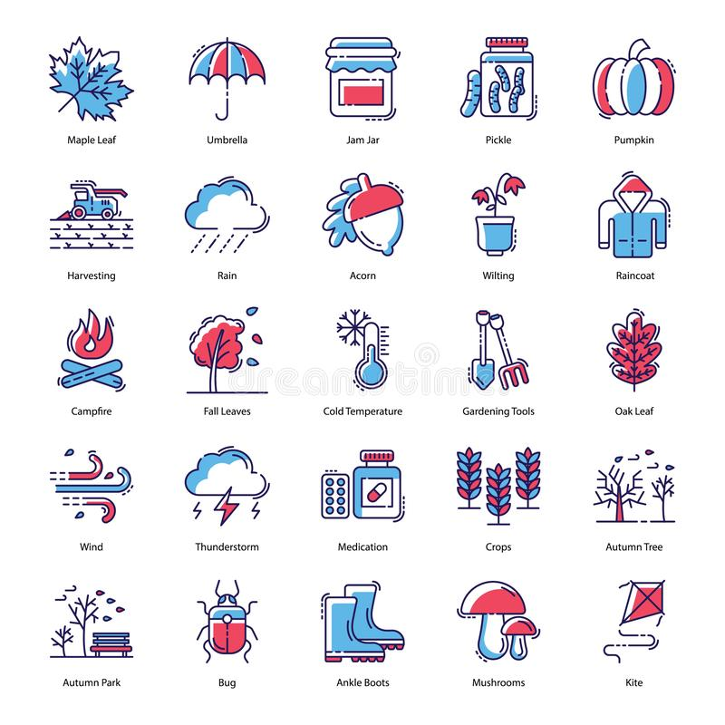 Autumn Flat Icons Pack vector illustration