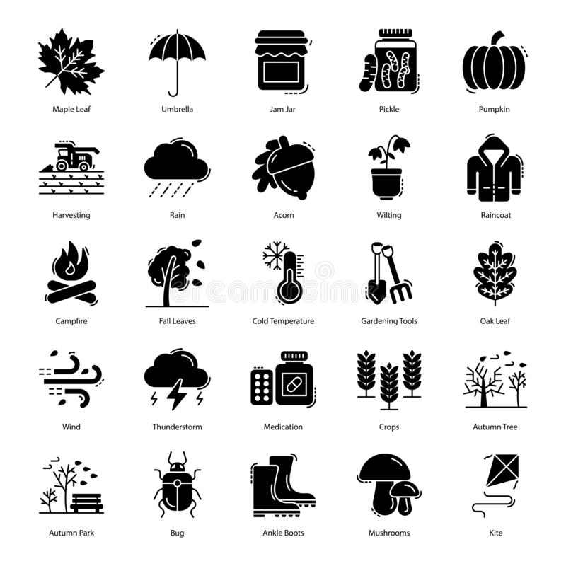 Autumn Solid Icons Pack royalty free illustration