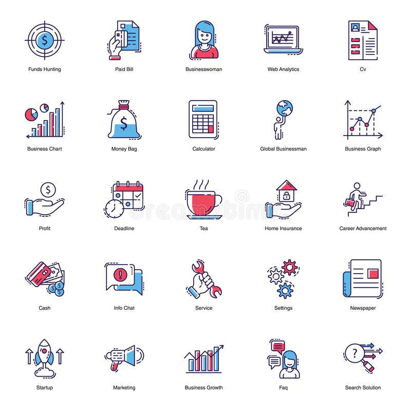 Finance Flat Icons stock illustration