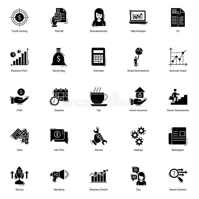 Finance Glyph Icons stock illustration