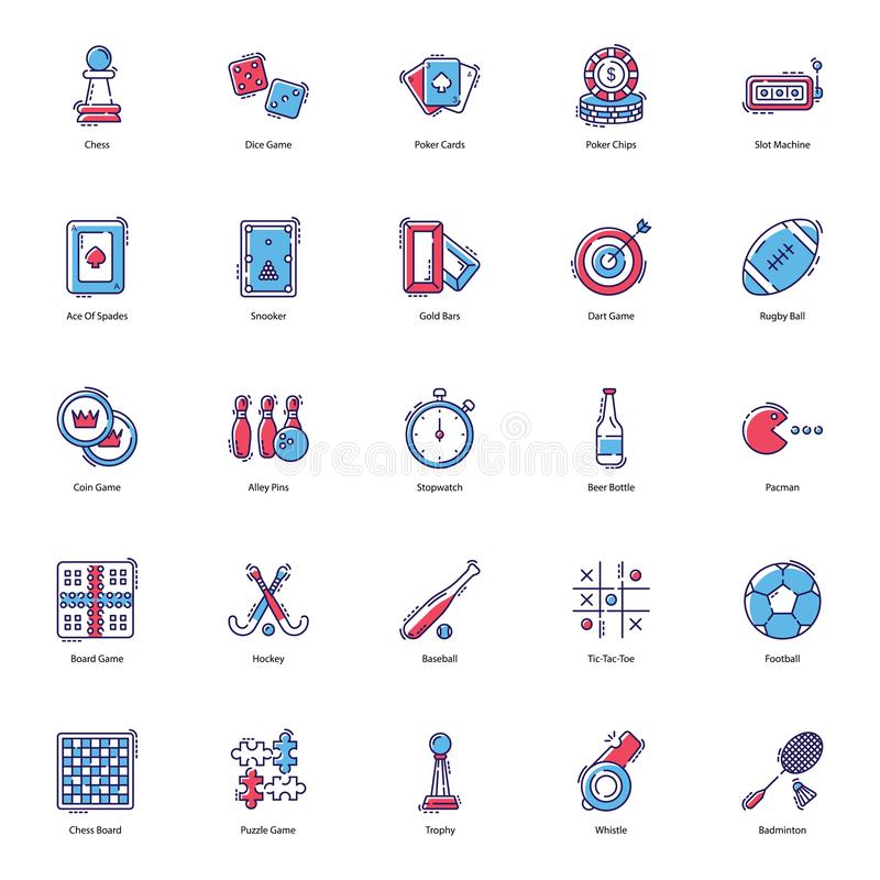 Gambling Games Flat Icons Pack. Gambling icons are presented here to make your project more worthy. Gaming and sports icons are presented in editable form hence royalty free illustration