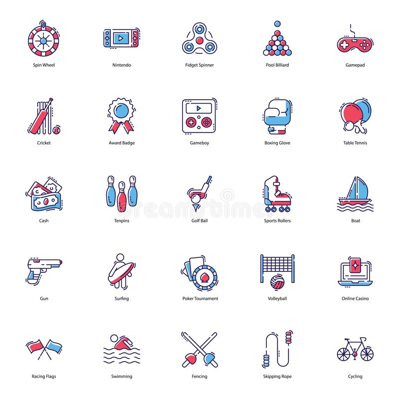 Gambling Flat Icons Pack stock illustration