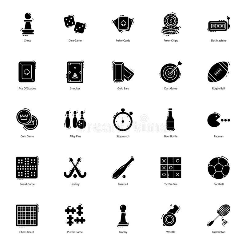 Gambling Games Solid Icons Pack. Gambling icons are presented here to make your project more worthy. Gaming and sports icons are presented in editable form hence royalty free illustration