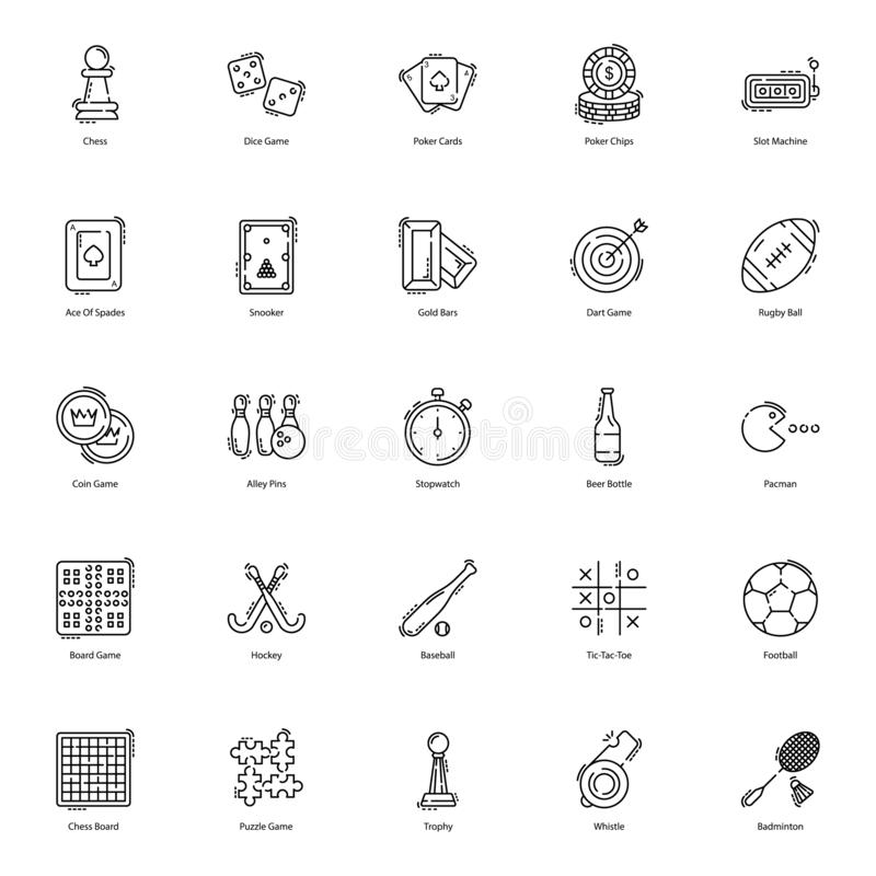 Gambling Games Flat Icons Pack. Gambling icons are presented here to make your project more worthy. Gaming and sports icons are presented in editable form hence stock illustration
