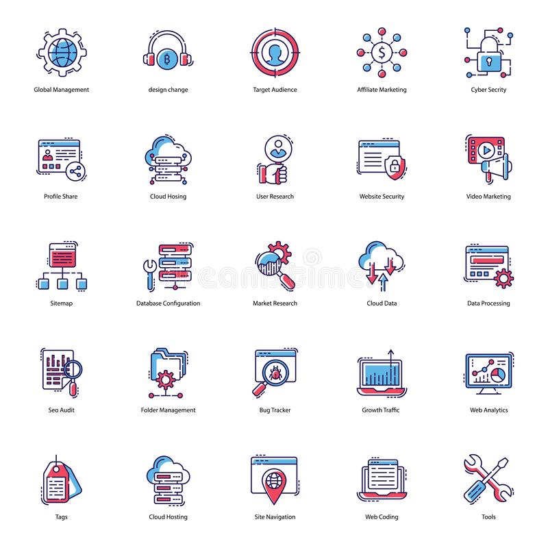 Web Flat Icons Pack. Web icons are here to improve the look and essence of your project. Seo visulas are presented in flat style with editable characteristic vector illustration