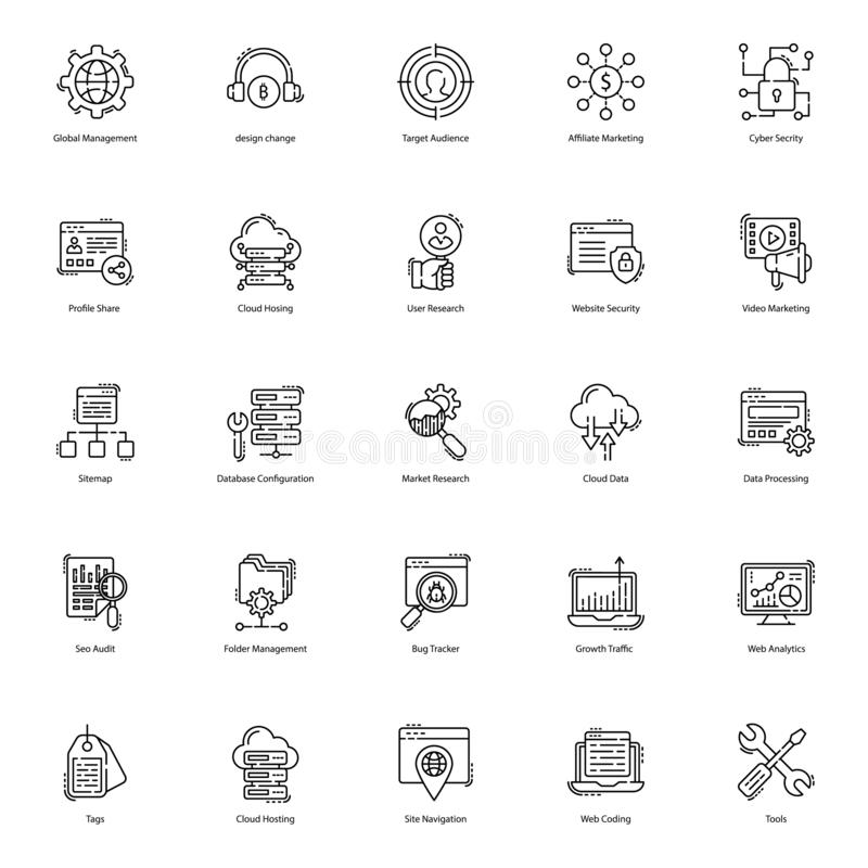 Web Line Icons Pack. Web icons are here to improve the look and essence of your project. Seo visulas are presented in line style with editable characteristic royalty free illustration
