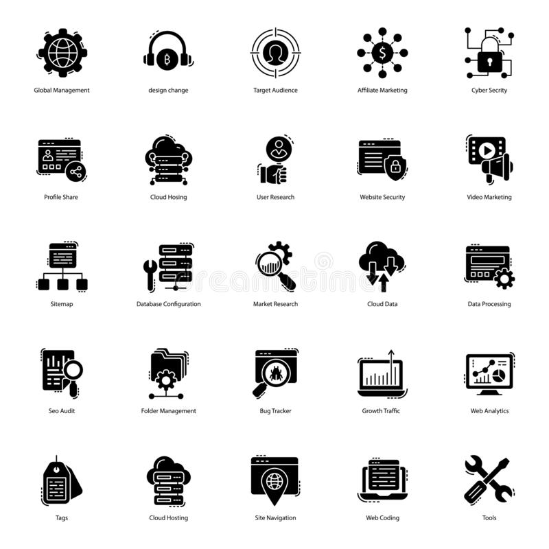 Web Solid Icons Pack. Web icons are here to improve the look and essence of your project. Seo visulas are presented in solid style with editable characteristic stock illustration