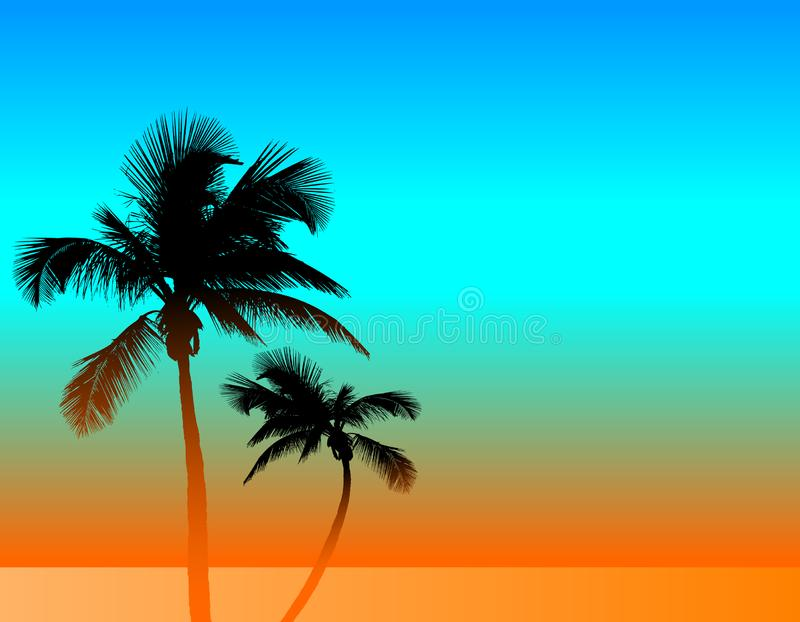 A tropical background with two palm trees. A template with room for your text vector illustration