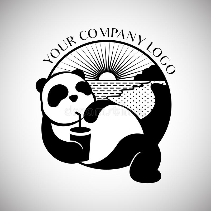 Black and white panda wildlife china animal modern and simple logo design vector illustration