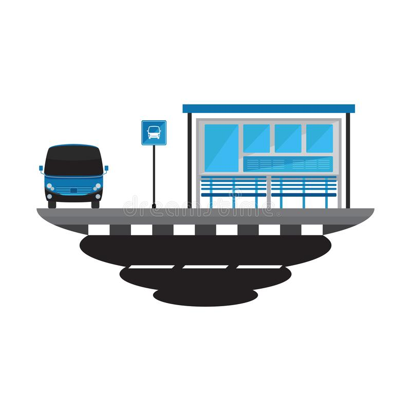 Bus Stop Transport and Road Landscape royalty free stock photos