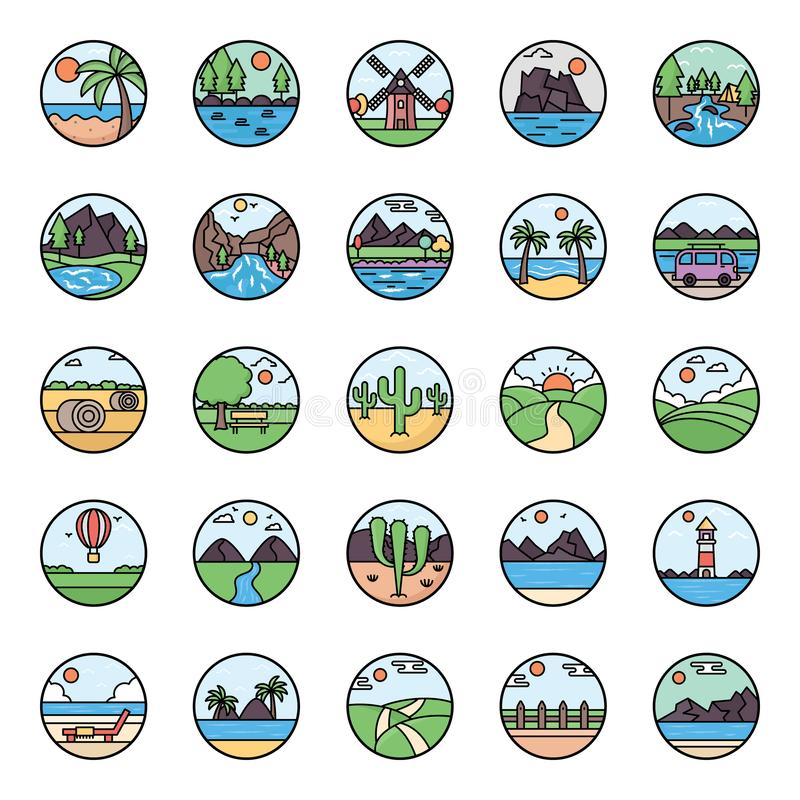 Nature Landscapes Flat Rounded Vectors. We are presenting a nature landscapes pack to fresh up your project. Collection of editable landscape vectors are royalty free illustration