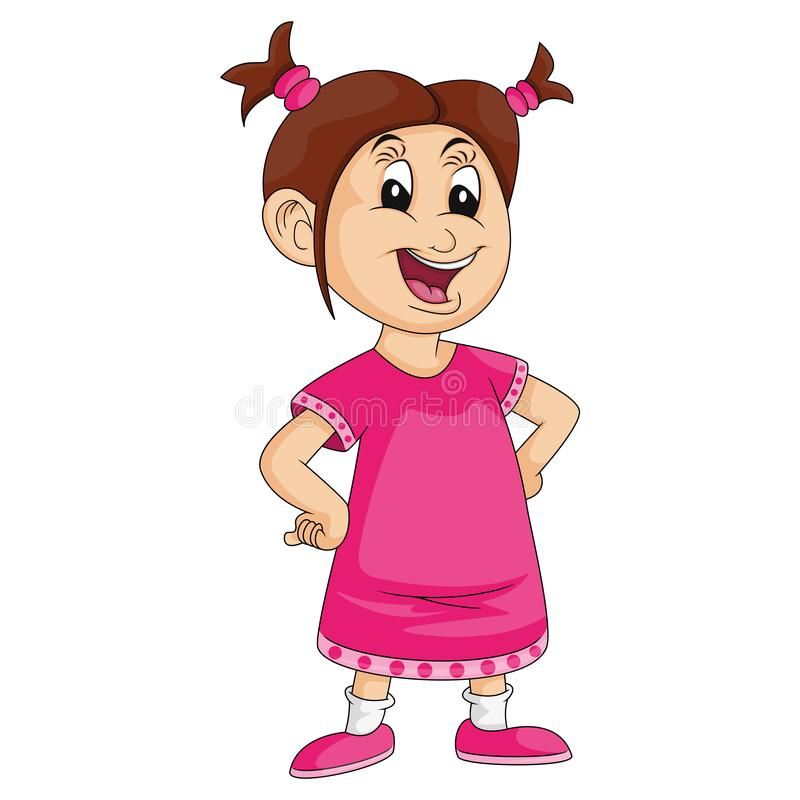 Little girl with hands on hips and smiling cartoon image illustration. Little girl in pink with hands on hips and smiling cartoon image illustration royalty free illustration