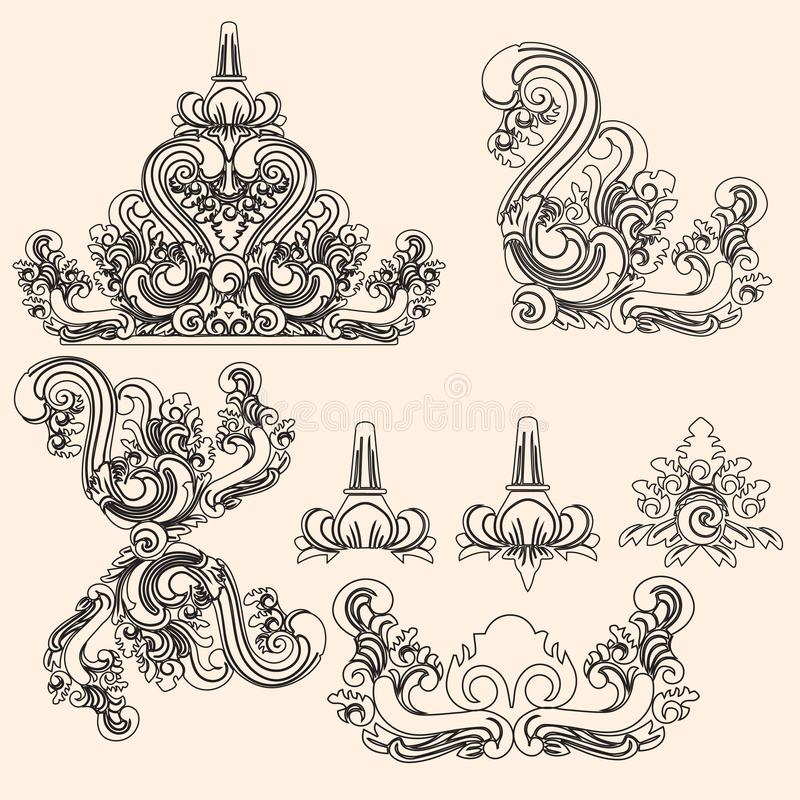 Balinese line art ornament design. Balinese line art traditional ornament design with vintage style and classic colour vector illustration