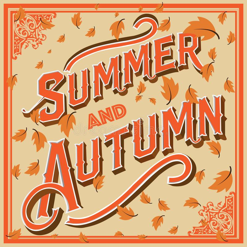 Summer and autumn vector design. Summer and autumn typography design with classic and vintage style and simple ornament for unique feel look like stock photos