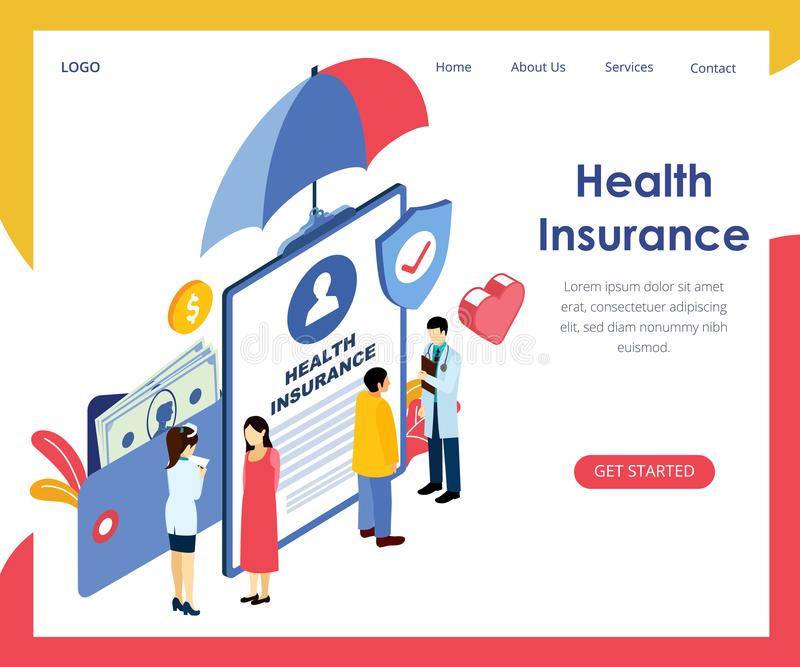 isometric vector concept of health insurance vector illustration