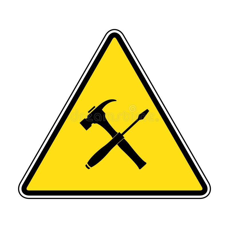 Caution attention symbol illustration. under construction icon. Under Construction Triangle Sign on yellow background drawing by illustration vector illustration