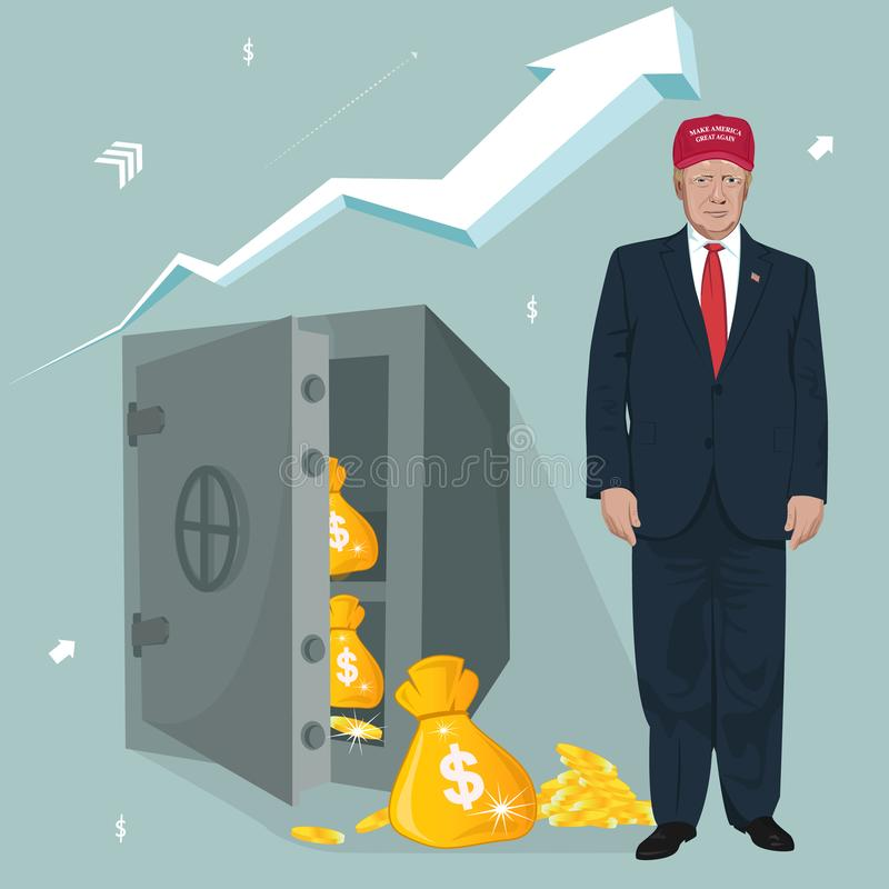 President Donald Trump,rising economy concept royalty free illustration