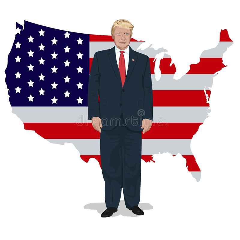 Donald Trump in full body size and American flag behind. American flag and President Donal Trump vector illustration
