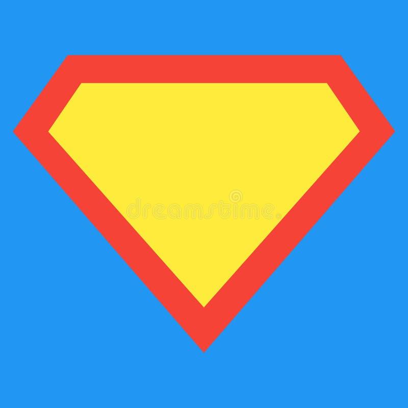 Superhero shield shape isolated on blue background. stock illustration