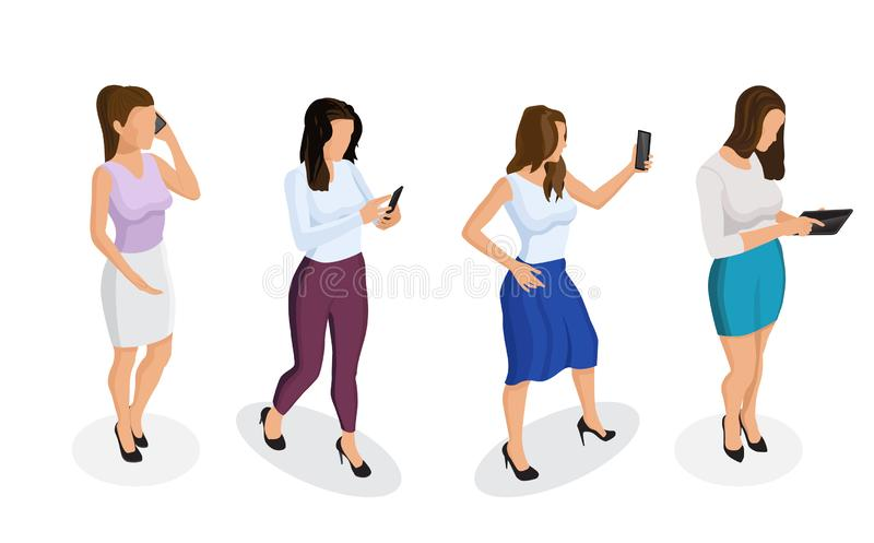 Young girl or woman talking on a smartphone, looking at the phone, working on a tablet, taking a selfie. royalty free illustration