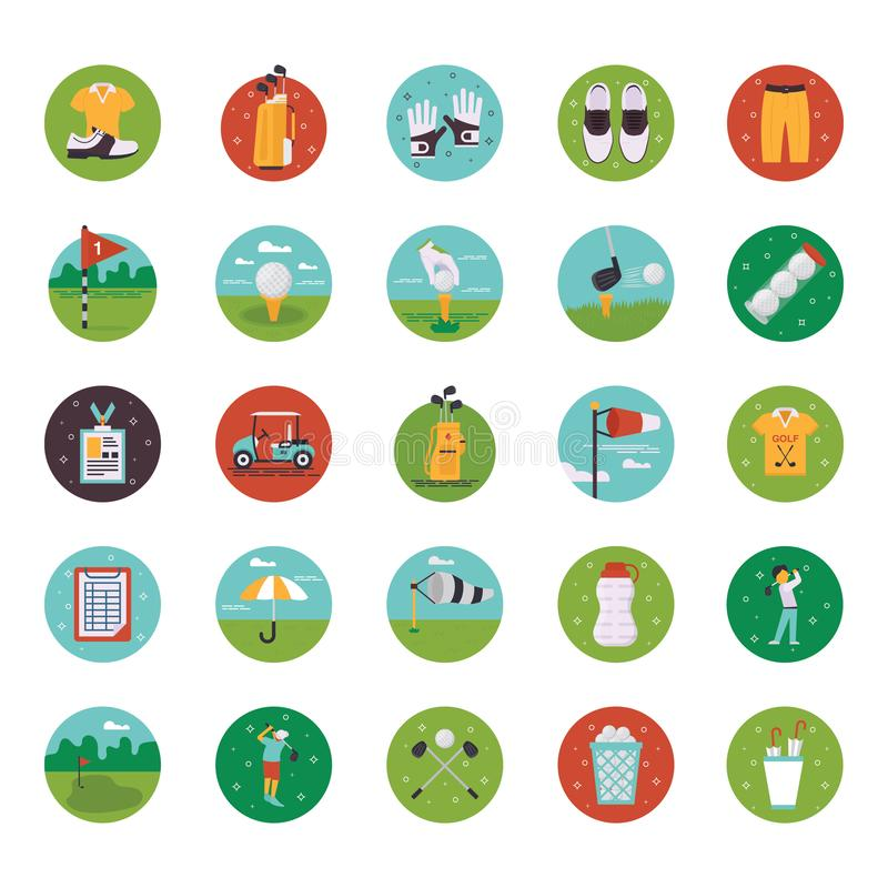 Golf Course Flat Icons royalty free illustration