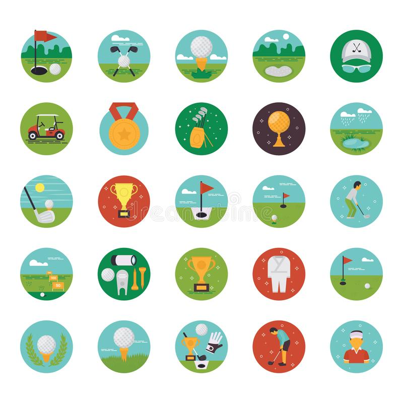 A pack of country sport club flat icons demonstrating golf course equipment and captivating visuals. stock illustration
