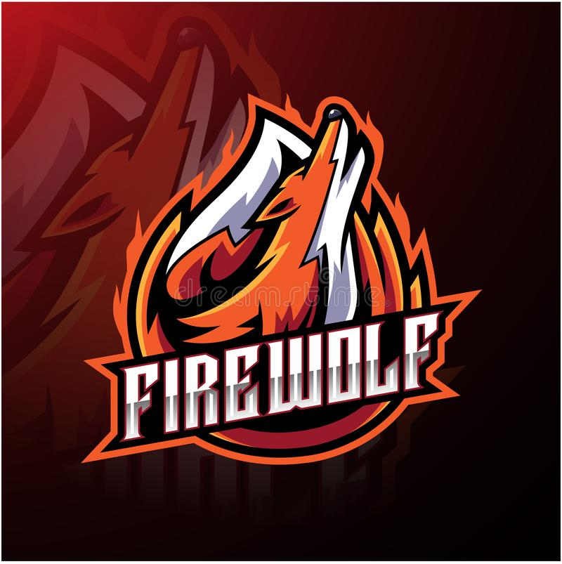 Fire wolf esport logo design vector illustration