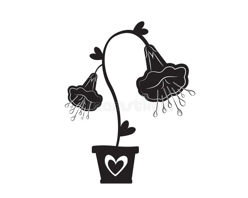 Black silhouette of flower growing on soil in flower pot with heart illustration isolated on white background, vector stock illustration