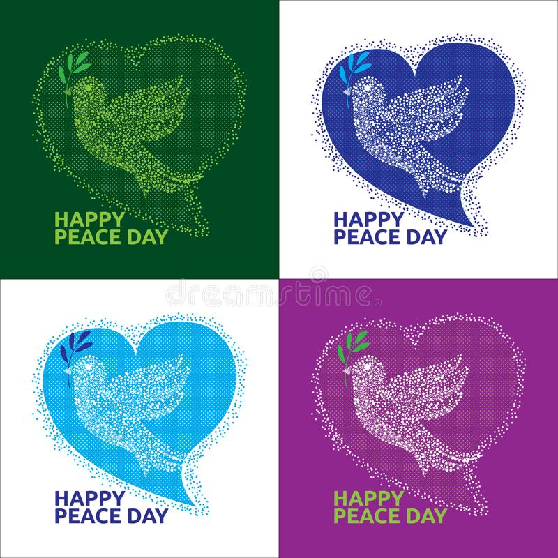 Happy Peace Day Dove in Love symbol. There are 4 color variations with light and dark backgrounds royalty free illustration