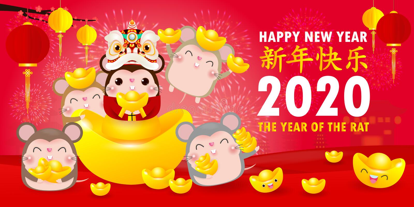Happy Chinese new year greeting card. group of Little rat holding Chinese gold, Happy new year 2020 year of the rat zodiac. Isolated on red Background stock illustration